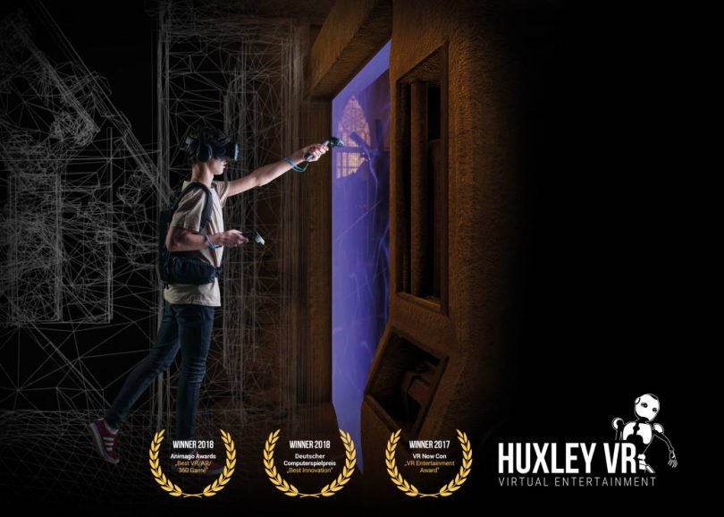 Image of person playing Huxley virtual reality game.