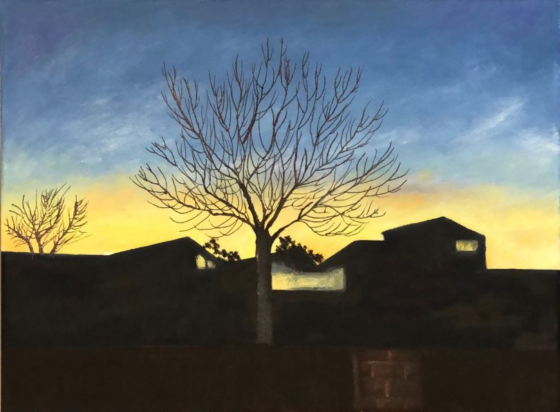 Painting of a sunset over a building